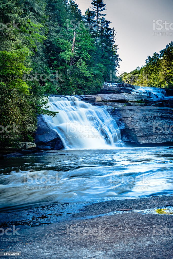 Cascades at Triple Falls in Western North Carolina stock photo