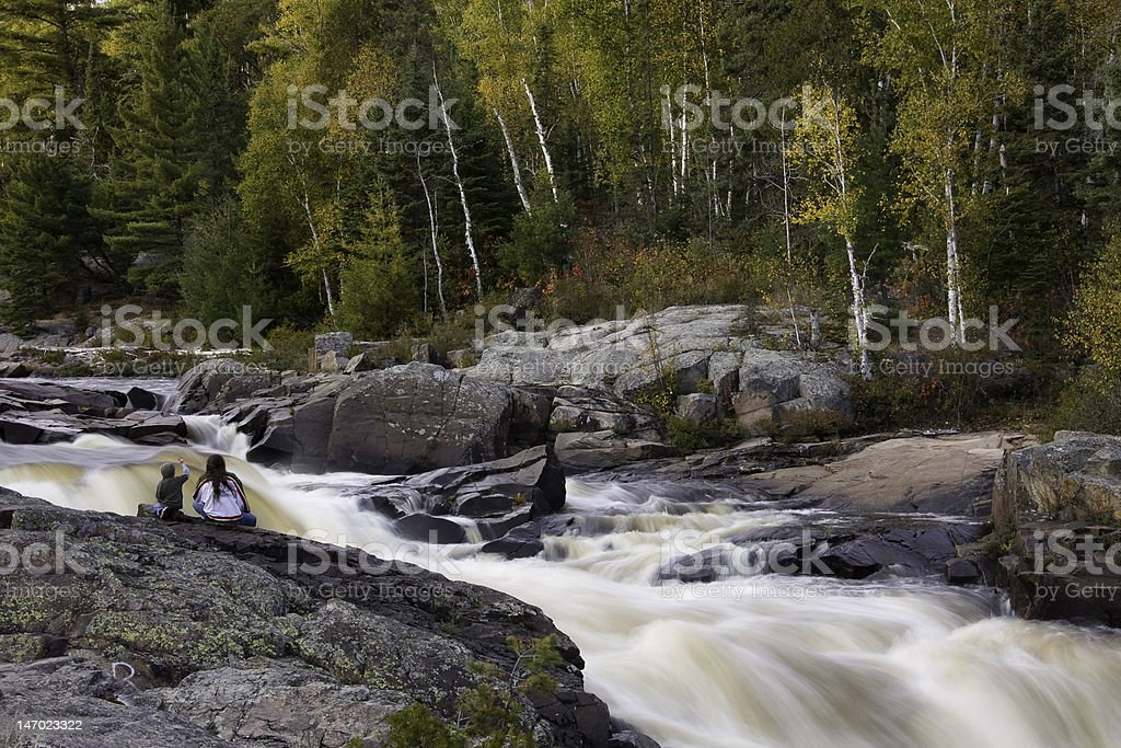 Cascades in fall colors royalty-free stock photo