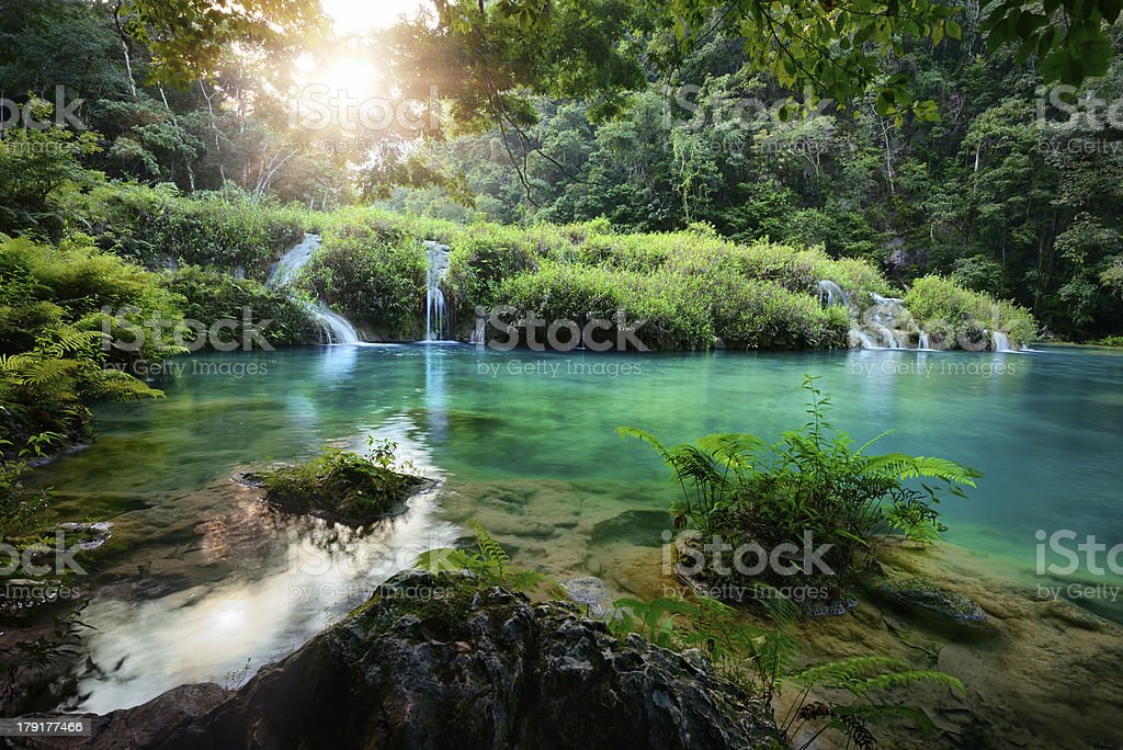 Cascades National Park in Guatemala Semuc Champey at sunset stock photo
