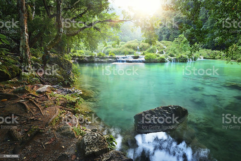 Cascades National Park in Guatemala Semuc Champey at sunset. stock photo