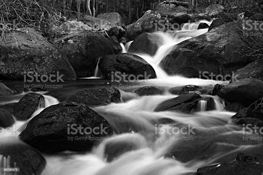 Cascades on Glacier Creek B&W, Rocky Mountain National Park, Colorado stock photo