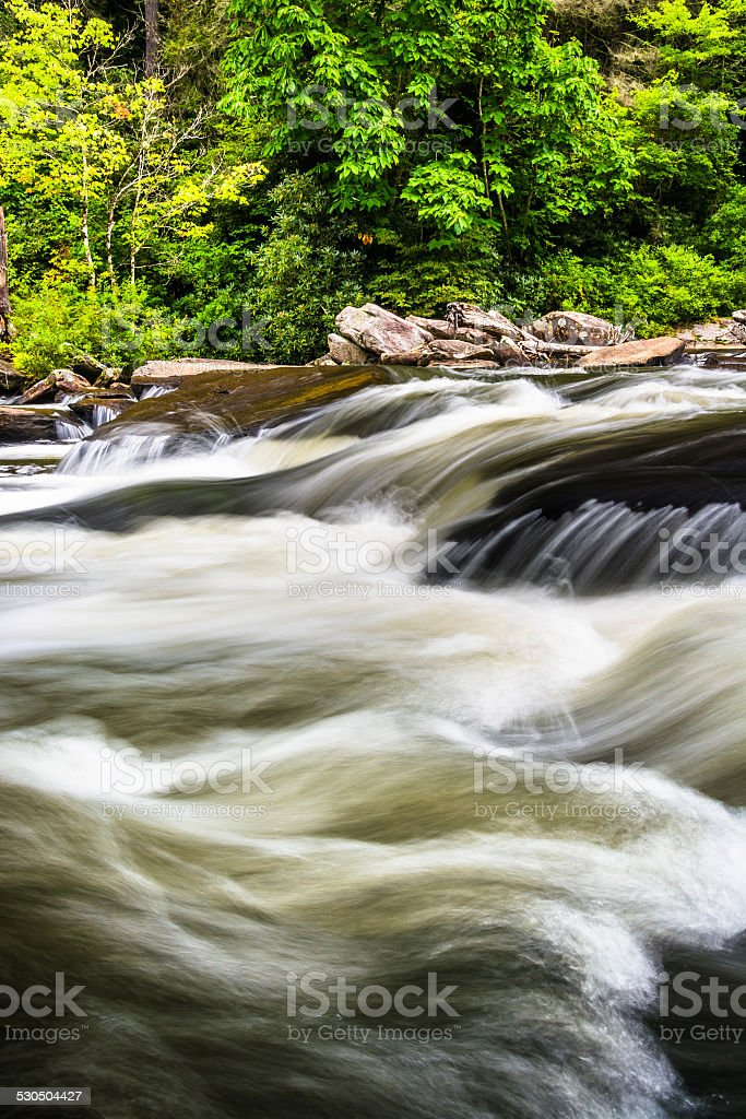 Cascades on Little River, in Dupont State Forest, North Carolina stock photo
