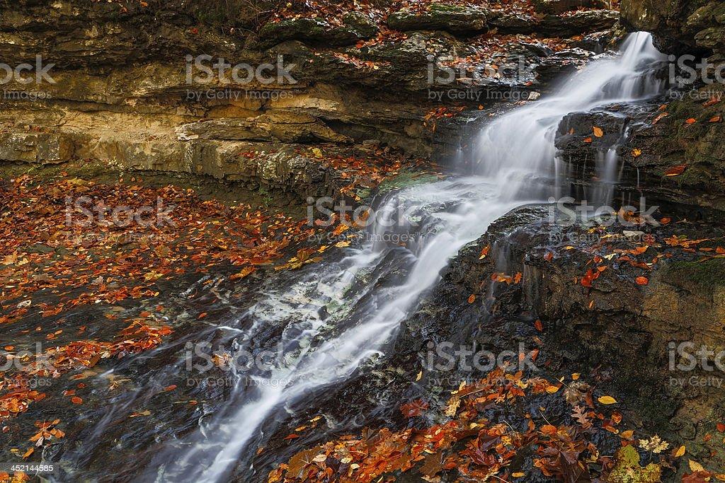 Cascading Autumn Waterfall stock photo