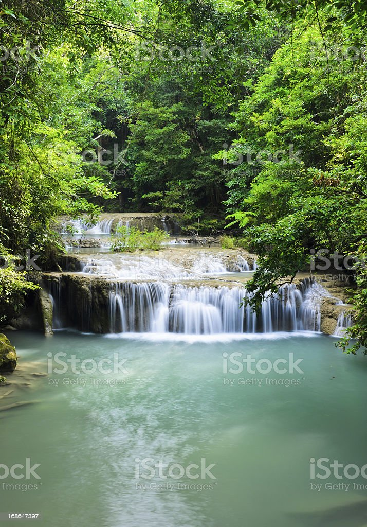 Cascading falls in tropical rain forest, Thailand stock photo