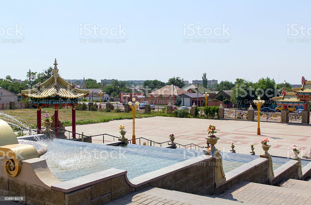 Cascading fountain  in front of the Buddhist complex stock photo