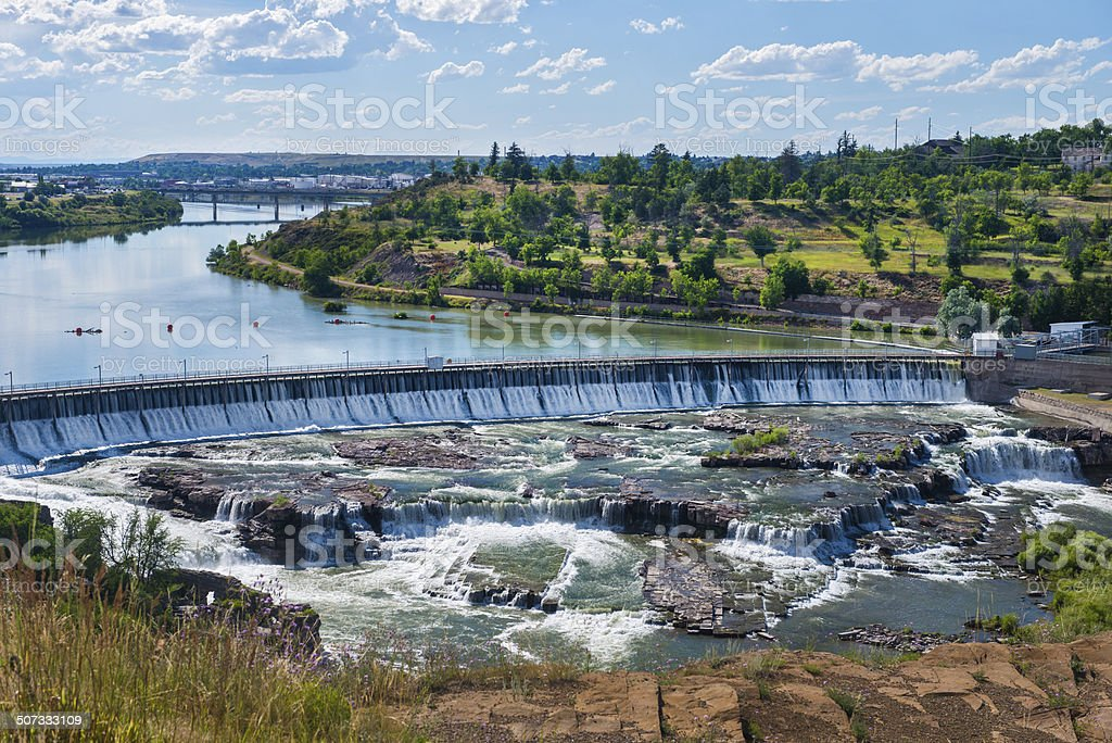 Cascading Water at Great Falls Montana stock photo
