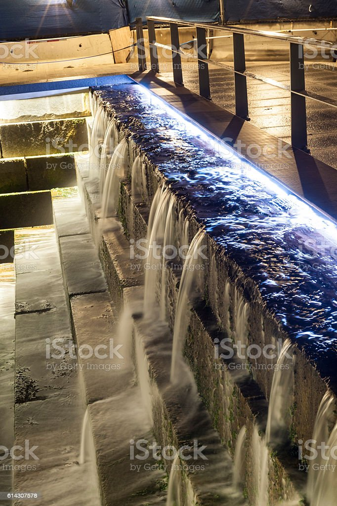 Cascading water Boston waterfront stock photo