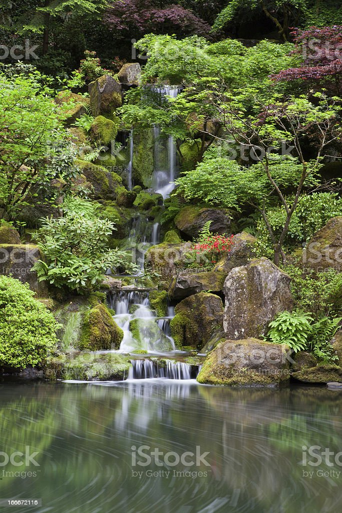 Cascading waterfall in japanese garden at portland royalty-free stock photo
