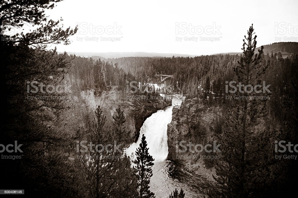 Cascading waterfall in Yellowstone National Park stock photo