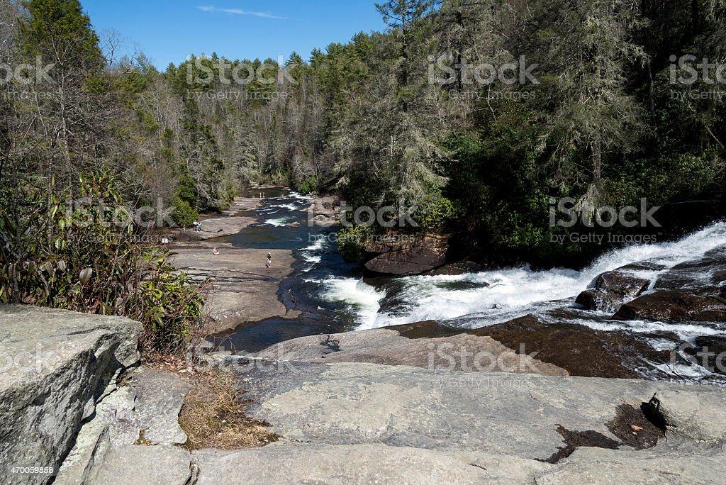 Cascading waterfalls in North Carolina stock photo