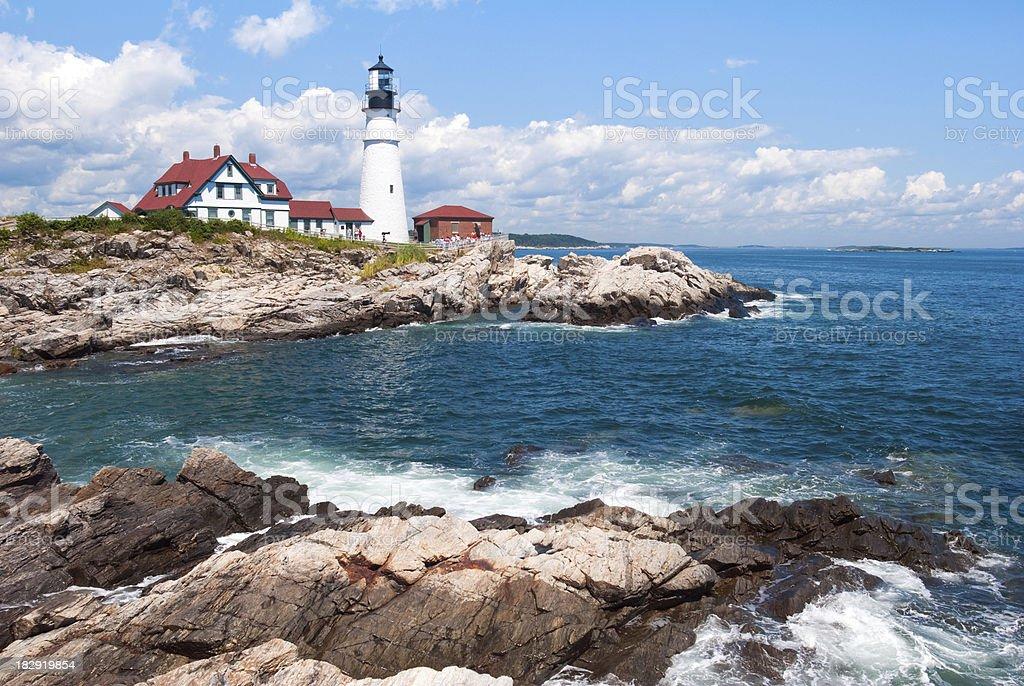 Casco Bay at Cape Elizabeth with Portland Head Lighthouse stock photo