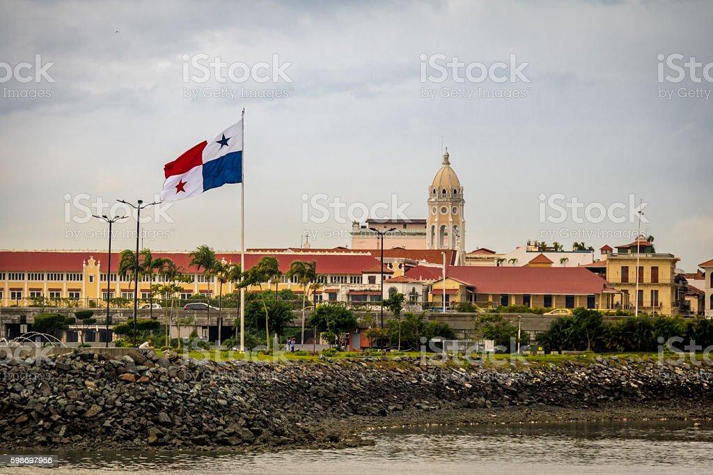 Casco Viejo and Panama Flag - Panama City, Panama stock photo