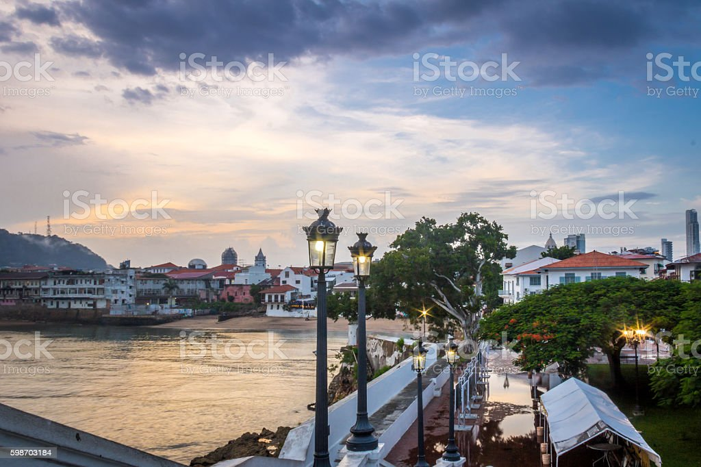 Casco Viejo and Plaza de Francia - Panama City, Panama stock photo