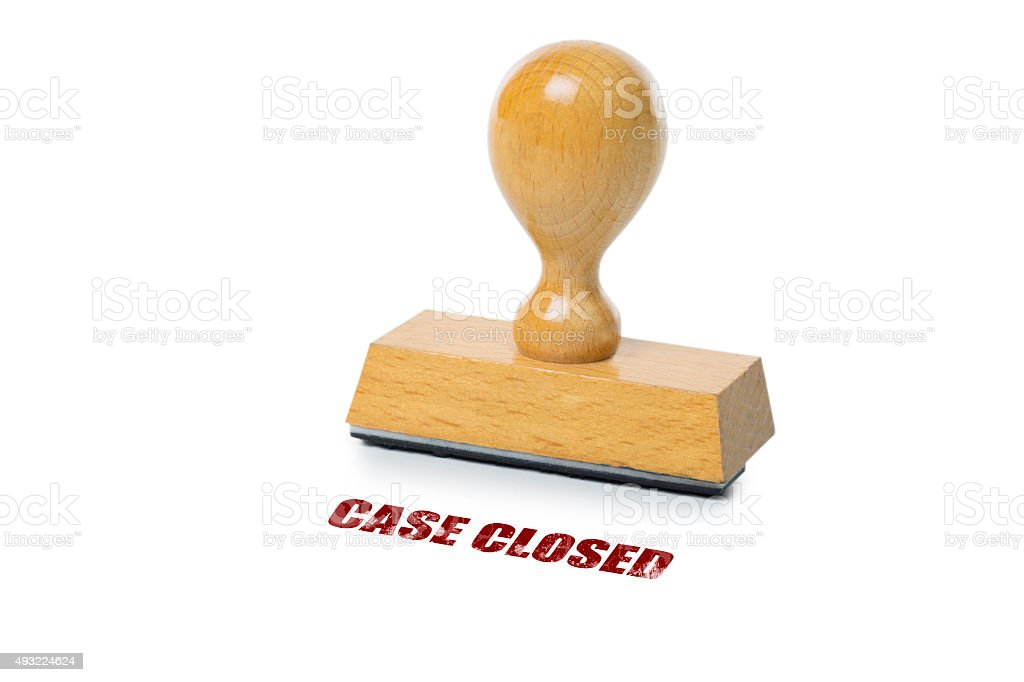 Case closed Rubber Stamp stock photo