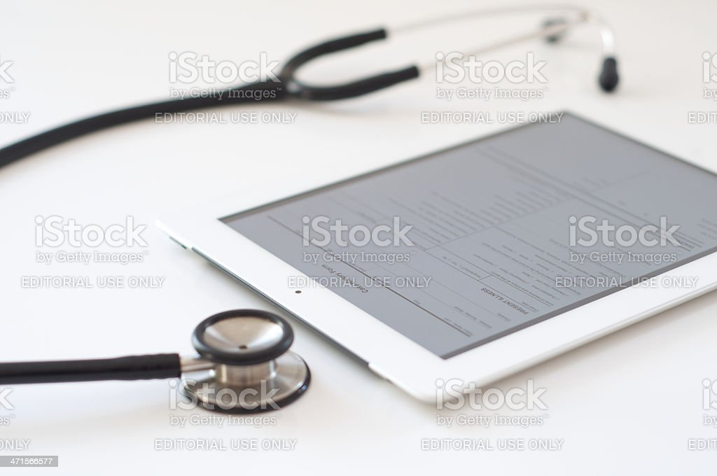 Case history form on iPad 4 royalty-free stock photo