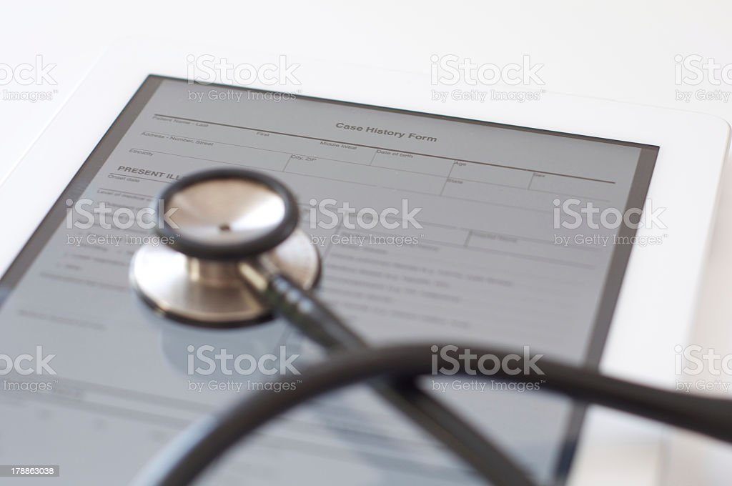 Case history on digital tablet royalty-free stock photo