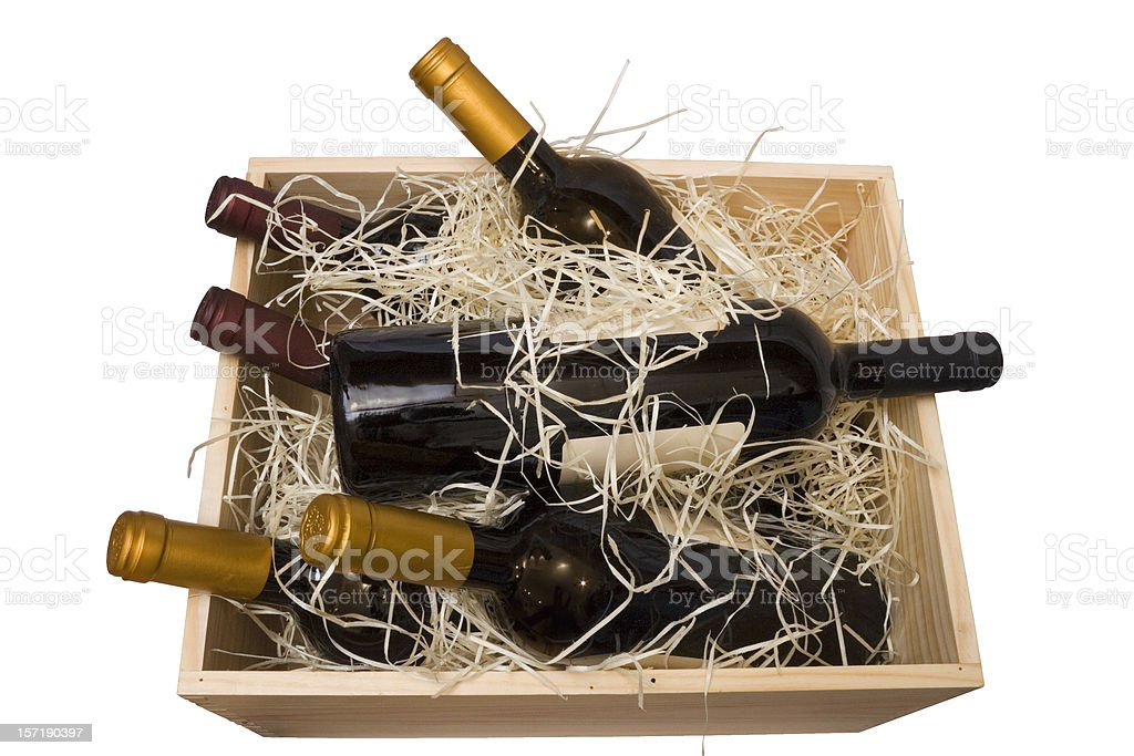 Case of fine wines (with path) stock photo