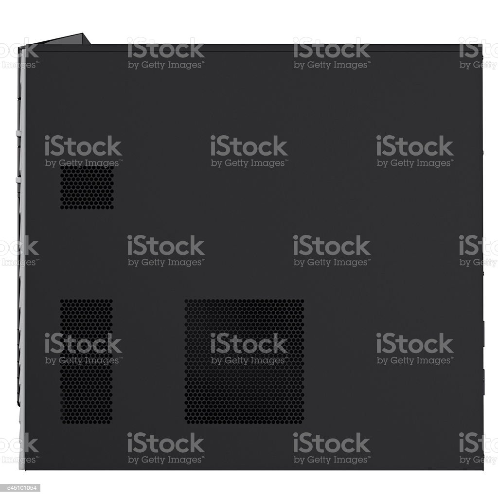 PC case side view on ventilation holes. 3d graphic stock photo