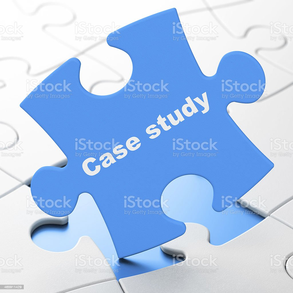 Case study jigsaw puzzle piece fitting into the puzzle stock photo