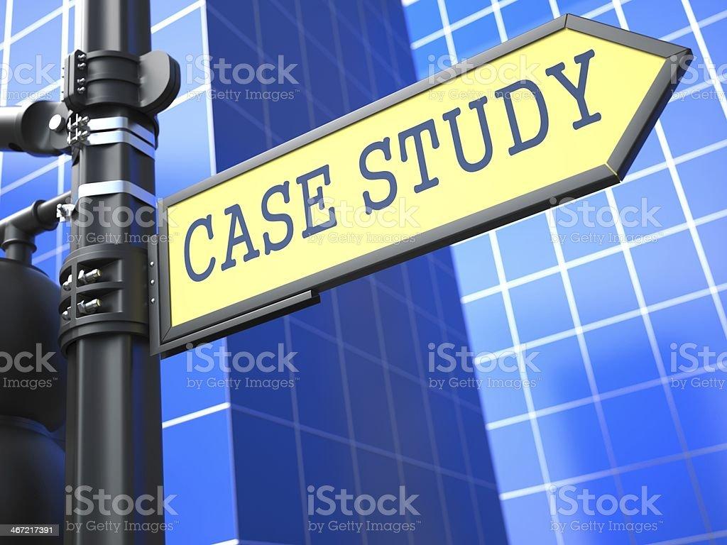 Case Study on Yellow Roadsign. stock photo