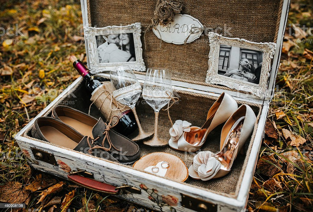 Case with wedding accessorize stock photo