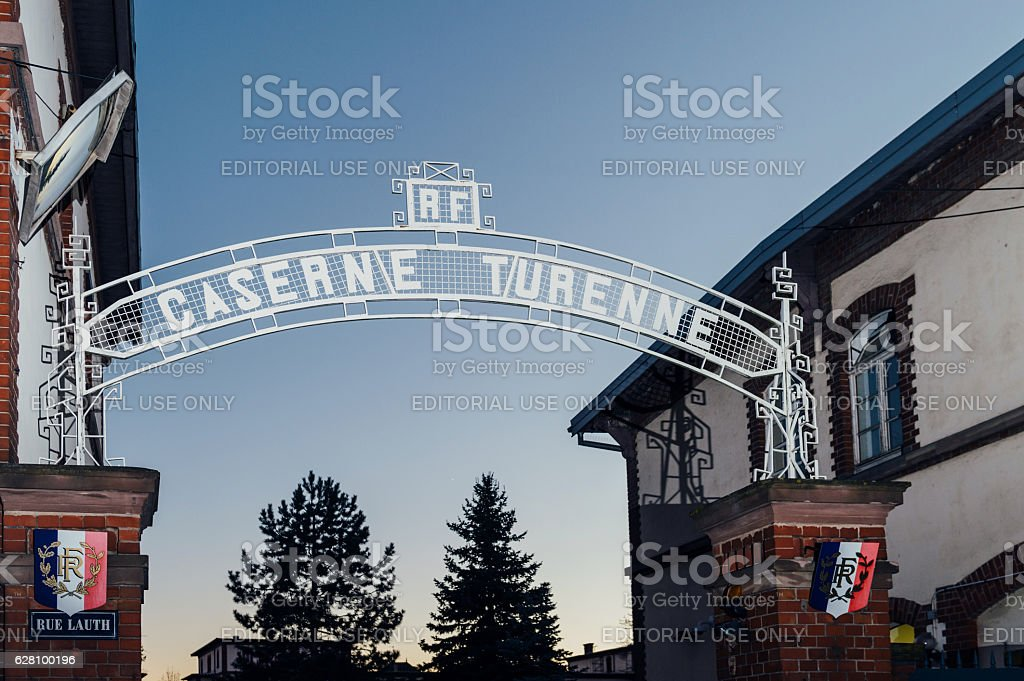 Caserne Turenne inscription above the gate of the enrolmen stock photo