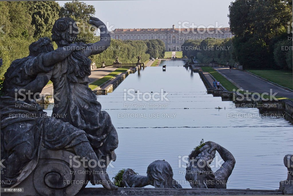 Caserta Palace Royal Garden stock photo