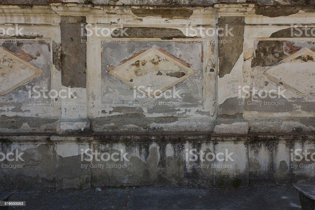 Caserta Royal Palace garden, decaying wall stock photo