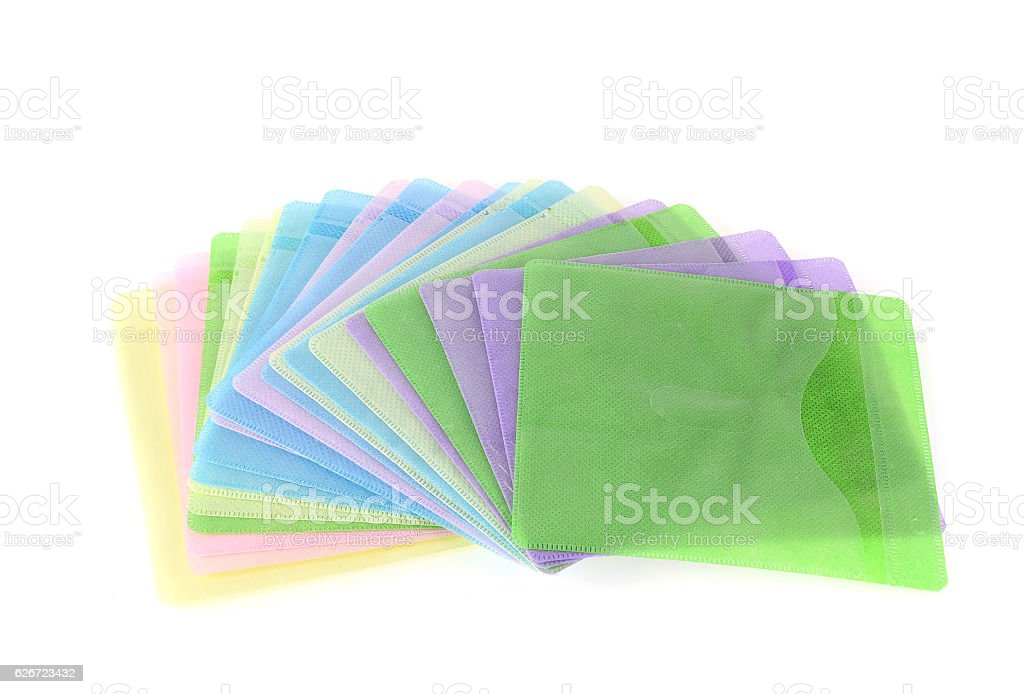 Cases CD pastel isolated on white background. stock photo
