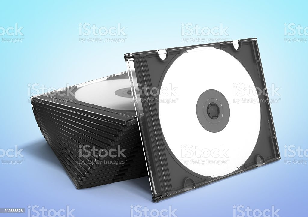 3D CD cases open on gradient background stock photo