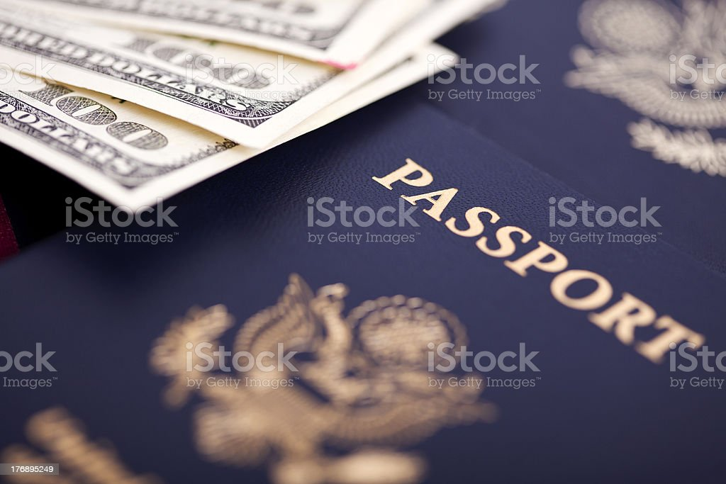 Cash and Passports royalty-free stock photo