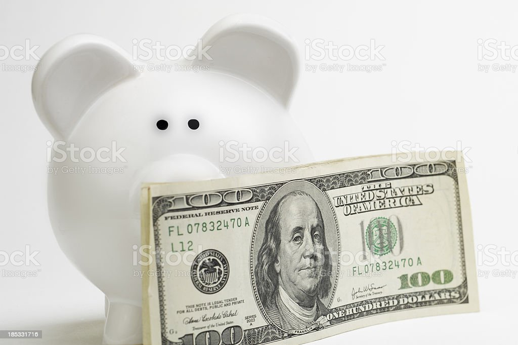 Cash and Piggy Bank stock photo