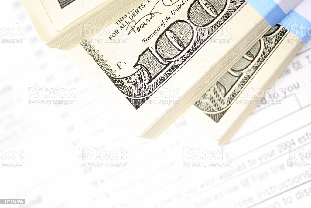 cash and tax form stock photo