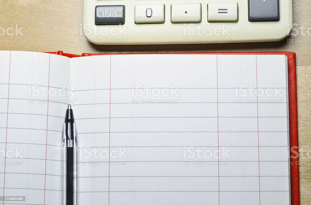 Cash Book and Calculator stock photo