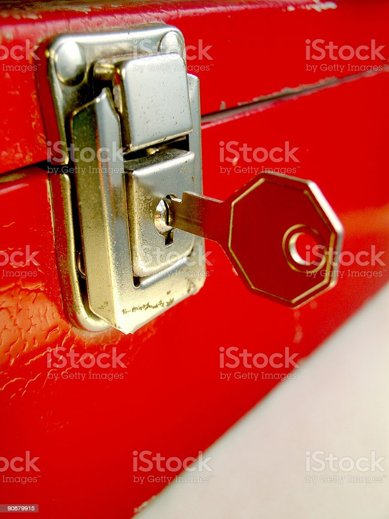 Cash box with key stock photo