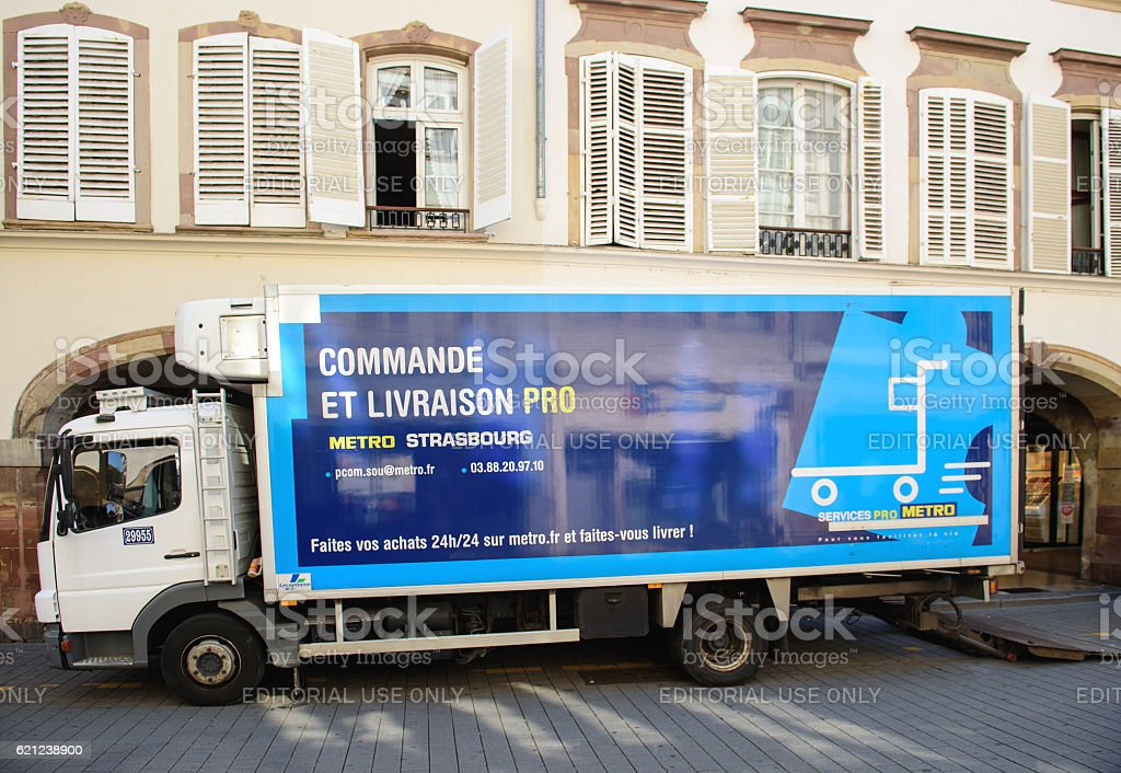 METRO Cash & Carry delivery truck in city stock photo