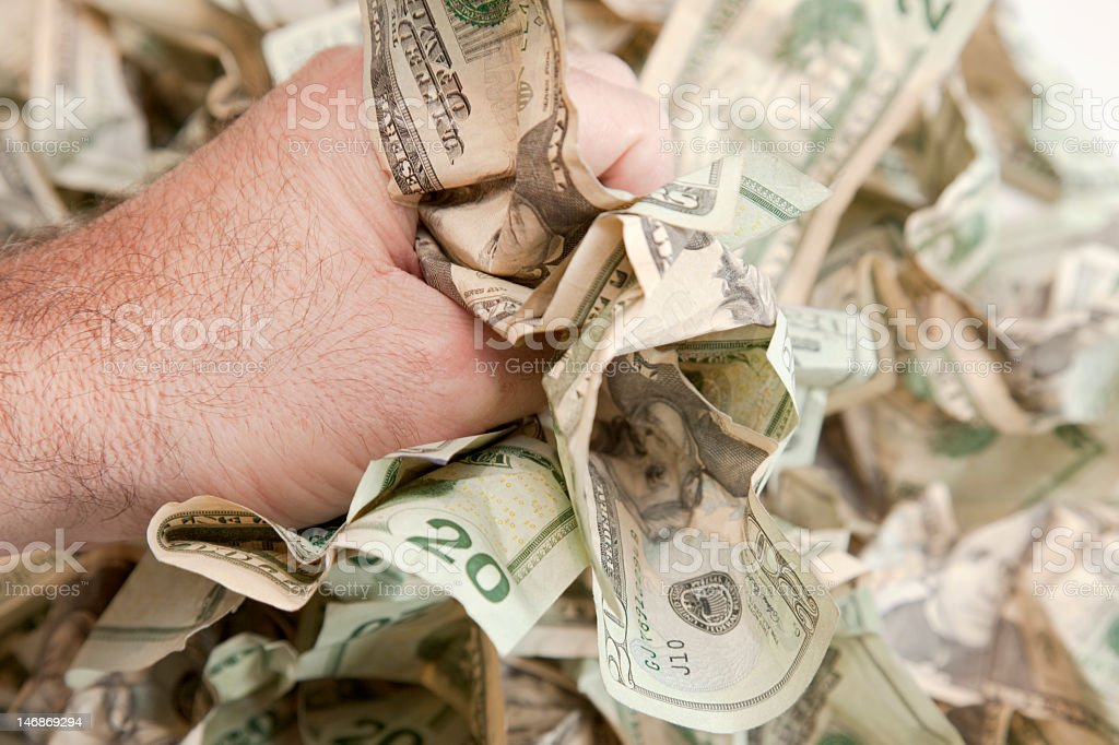 Cash Clench royalty-free stock photo