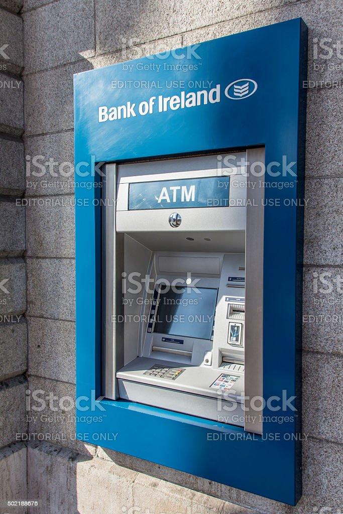 Cash dispenser of the Bank of Ireland, 2015 stock photo