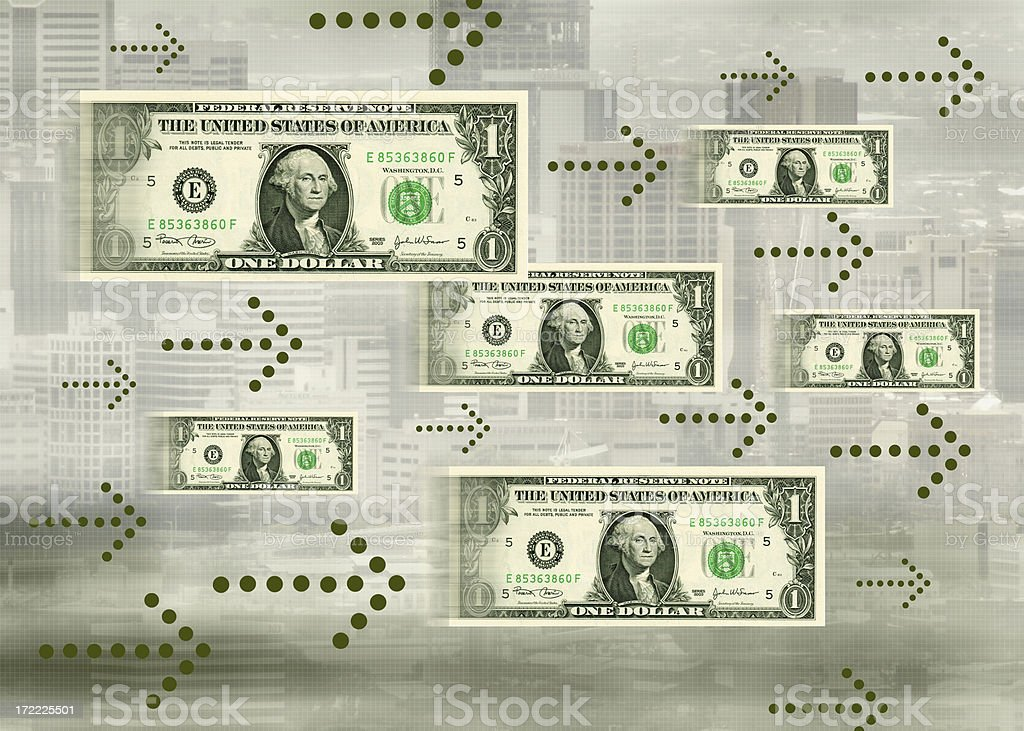 Cash flow concept showing bills following animated arrows stock photo