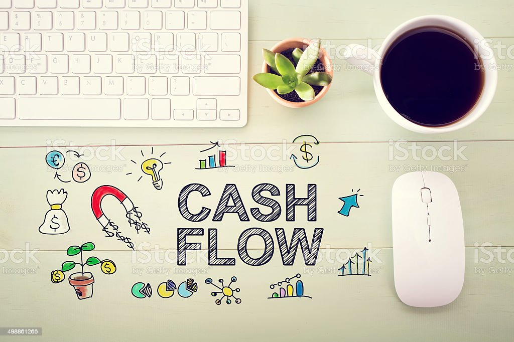 Cash Flow concept with workstation stock photo
