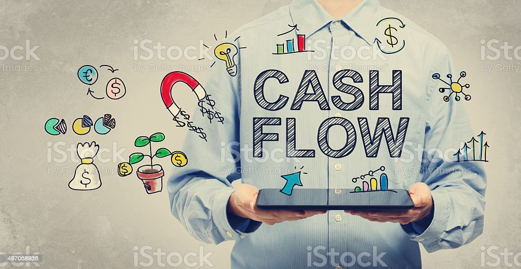 Cash Flow concept with young man holding a tablet stock photo
