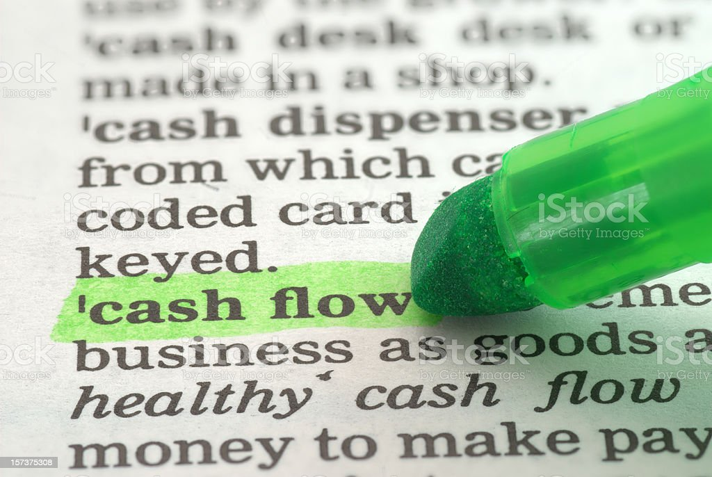 cash flow definition highlighted in dictionary stock photo