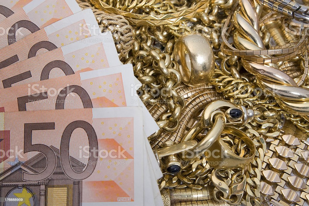 Cash for old gold stock photo