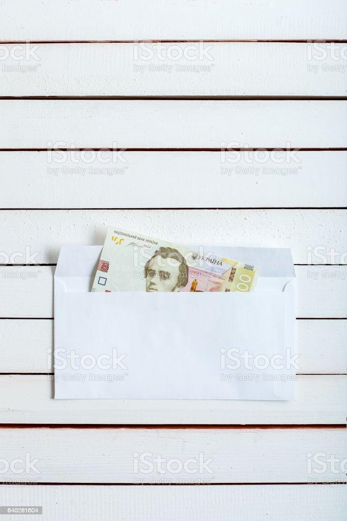 Cash in an envelope ukrainian hryvnia. stock photo