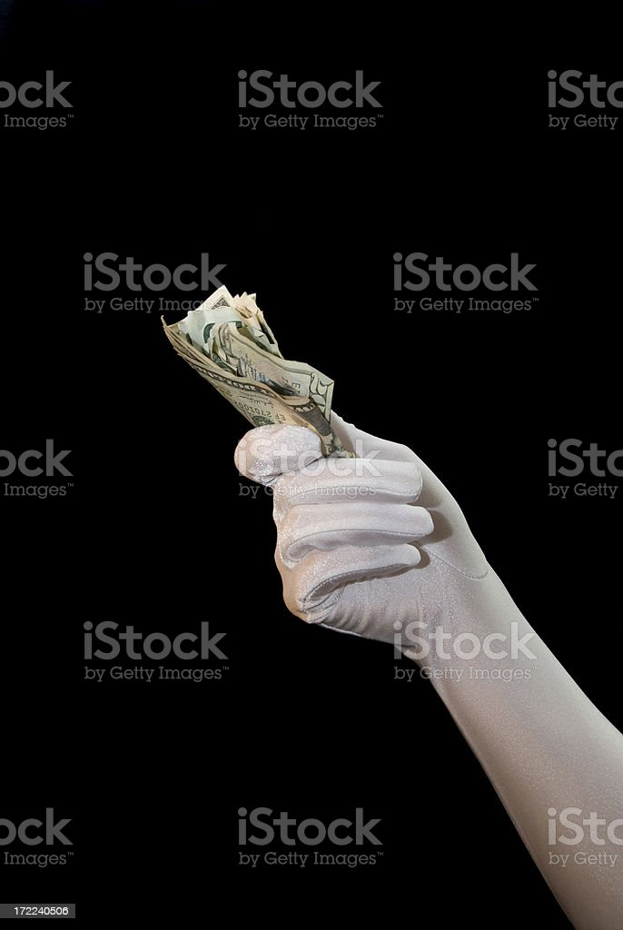 Cash In Hand - Formal Glove Series royalty-free stock photo