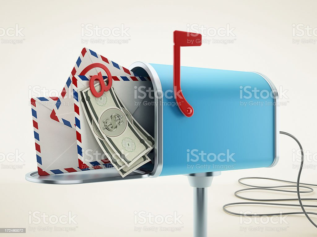 Cash in mailbox royalty-free stock photo