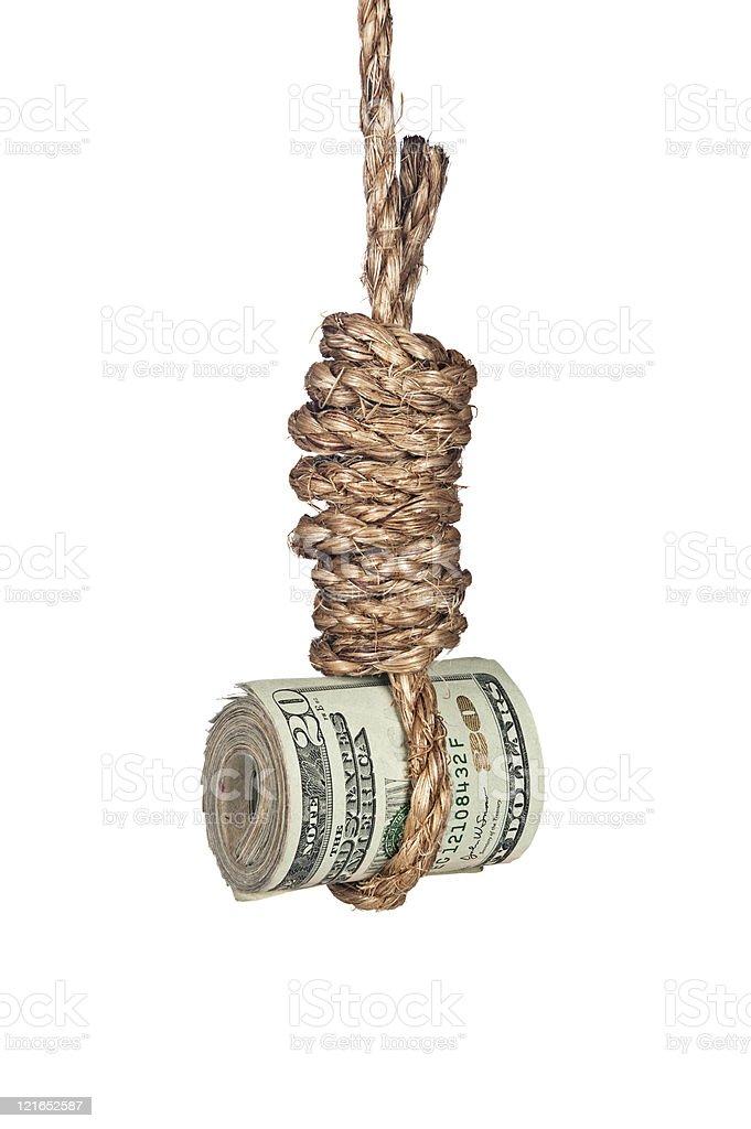 Cash in Noose stock photo