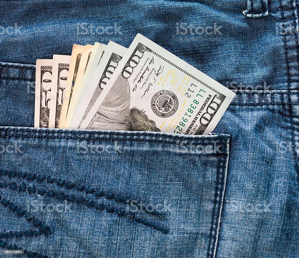 Cash in pocket stock photo