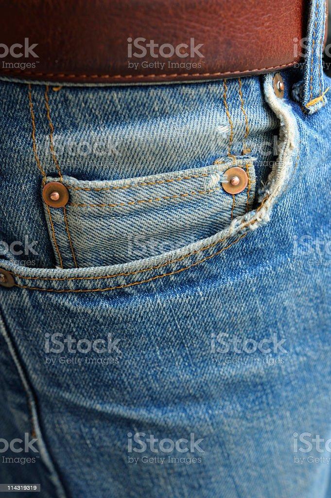 Cash in Worn Denim Jeans Pocket series - empty stock photo
