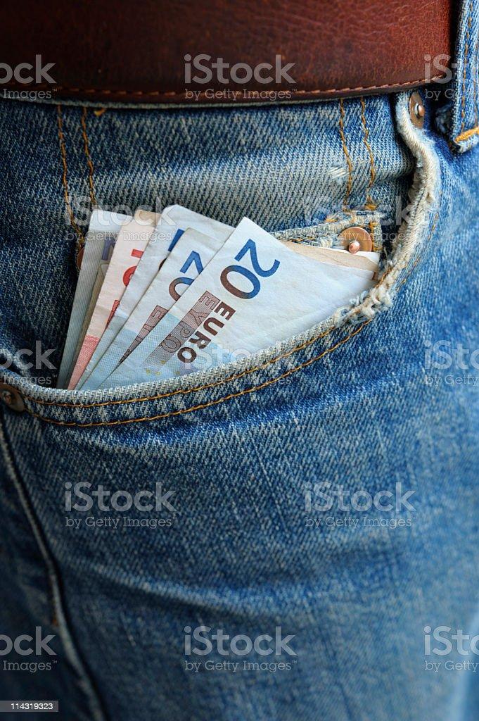 Cash in Worn Denim Jeans Pocket series - twenty euro royalty-free stock photo